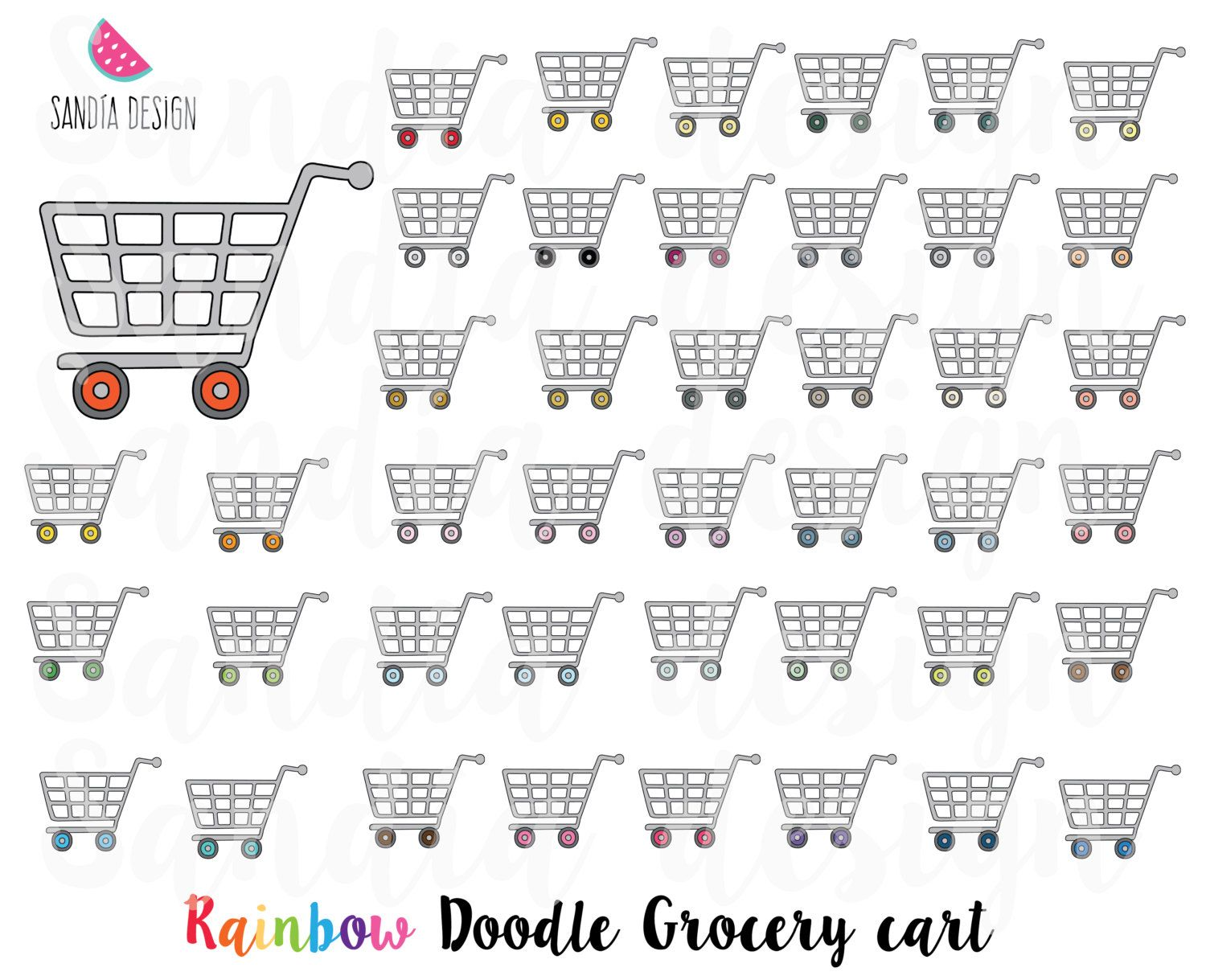 43 Doodle Grocery Cart Clipart Shopping Cart Personal And