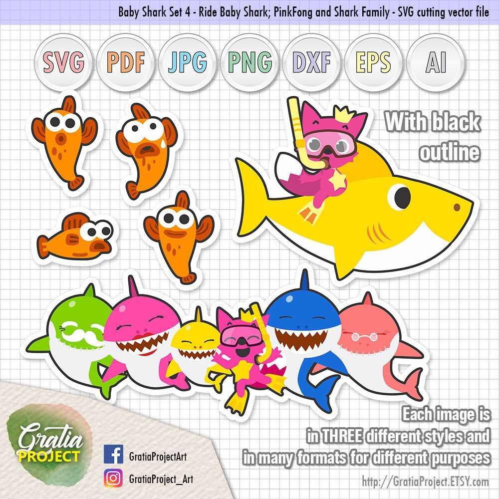 Baby Shark PinkFong Clipart Set 4 Artworks Baby shark