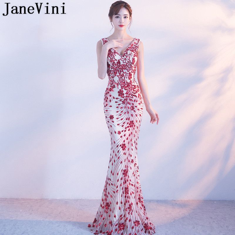 JaneVini Sexy Red Sequins Mermaid Bridesmaid Dresses Long Vintage Women  Ladies Wedding Party Gown V- 79969abe0a70