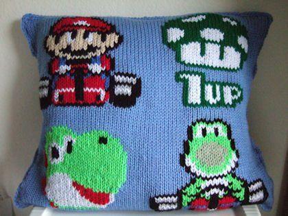 Mario Knit Pillow 2 Craftspiration Pinterest Knit Pillow