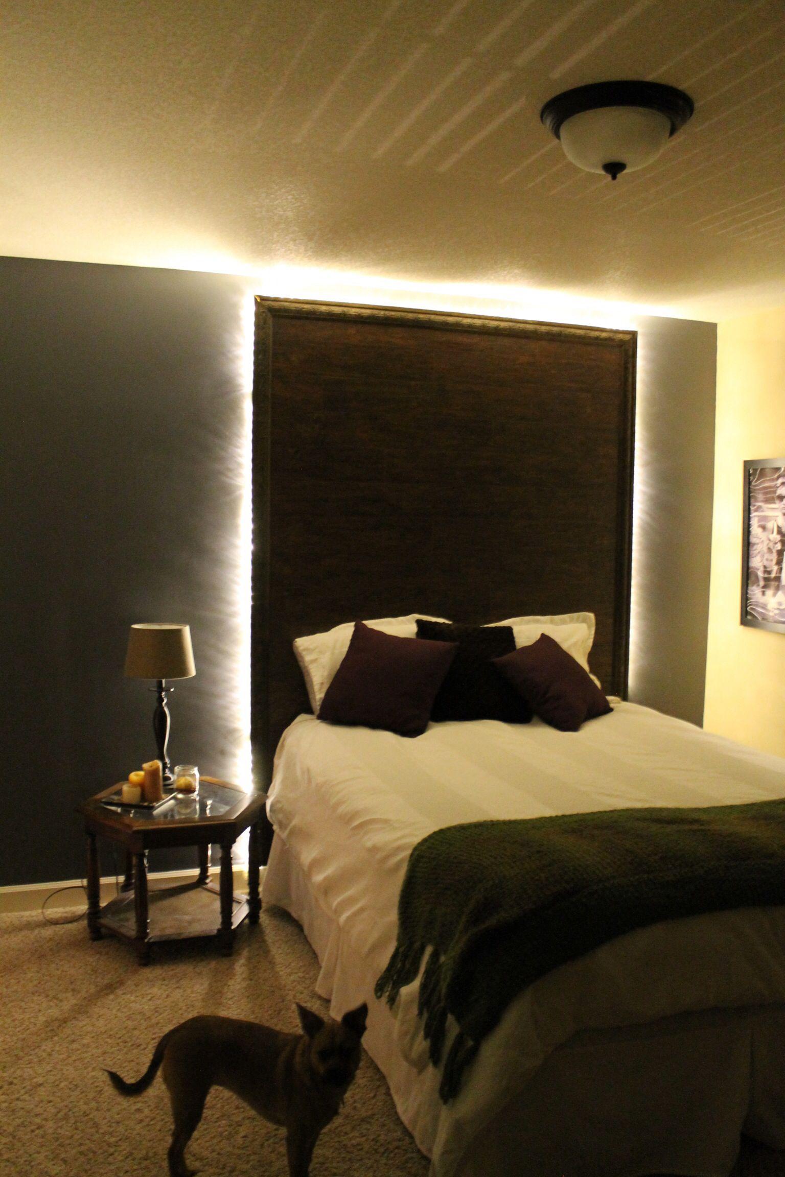 Lighted headboard Home decor, Headboard with lights