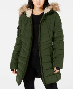 c7a2b1baf5b Madden Girl Juniors' Hooded Faux-Fur-Trim Coat - Green XL | Products ...