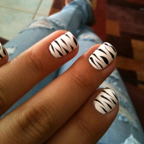 Easy Zebra Nail Designs At Home Easy Nail Art Designs Pinterest
