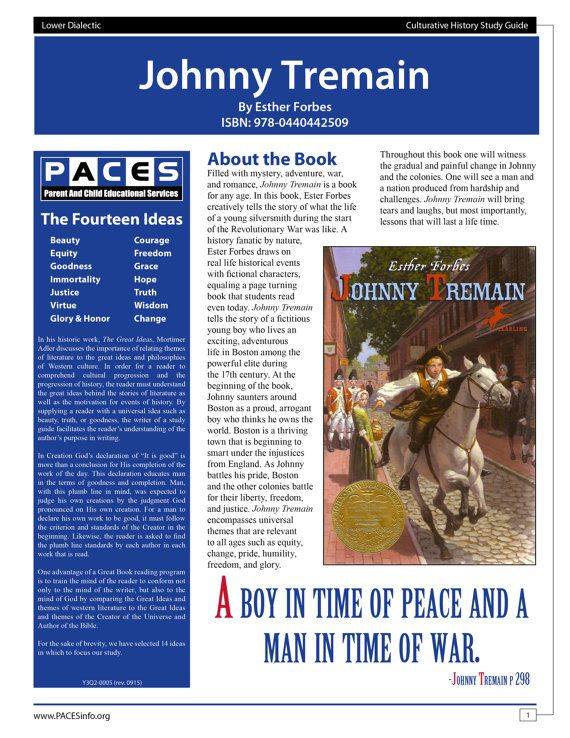 Johnny Tremain   Study Guide with Answer Key by PACESpublishing