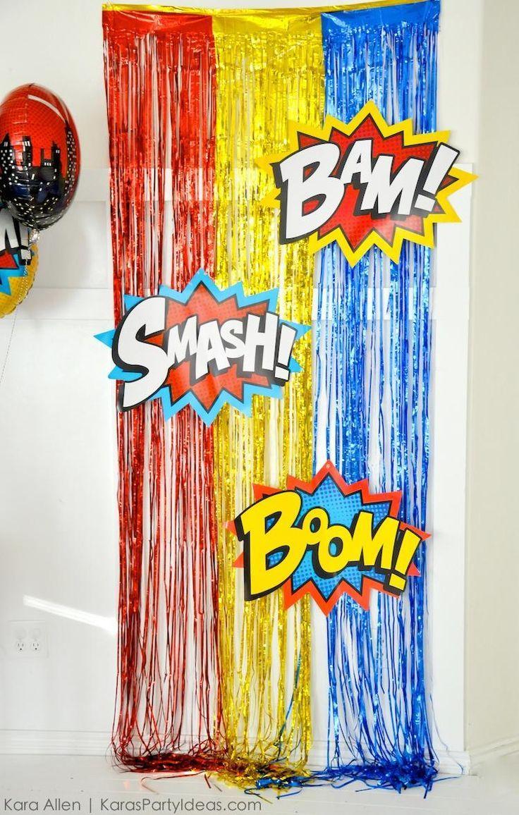 Classroom Decoration Superhero ~ Superhero photo booth backdrop birthday