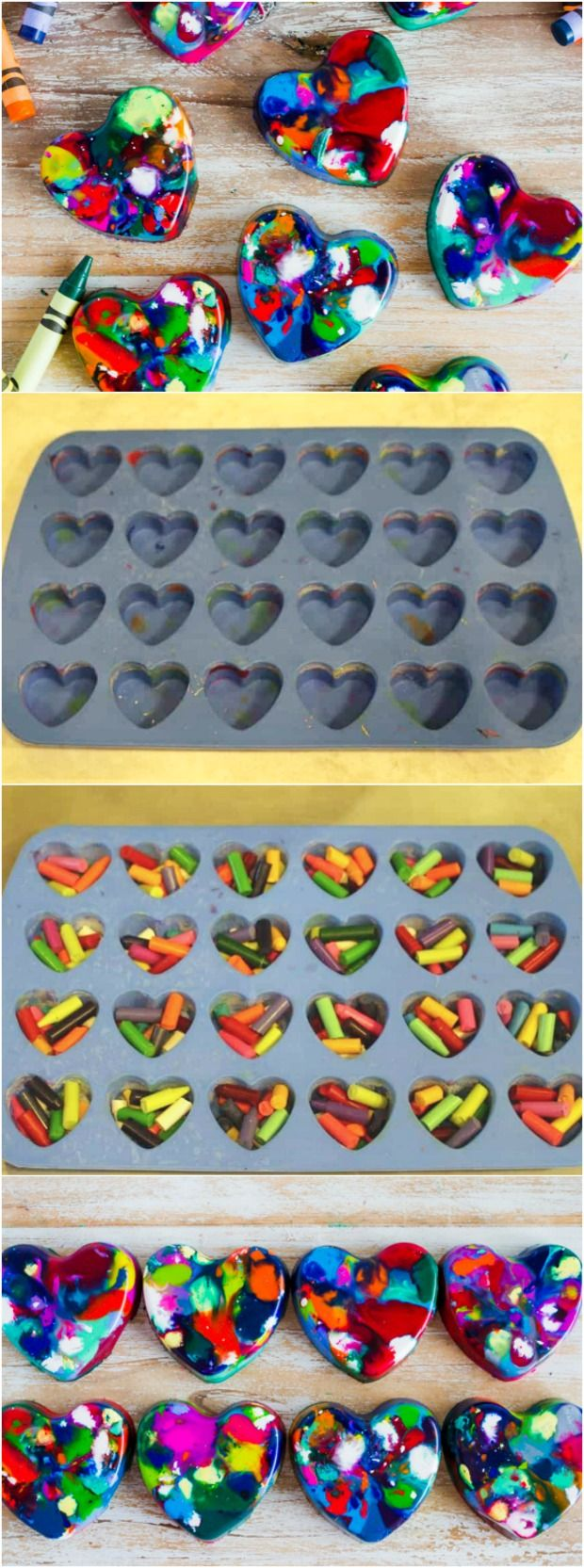 Are you looking for an easy DIY Valentine class gift Something non-candy, no sugar, peanut free and all of that...These Valentine's Heart Shaped Crayons will be a classroom party favorite! #diy #hearts #valentine #noncandy #crayons #crafts