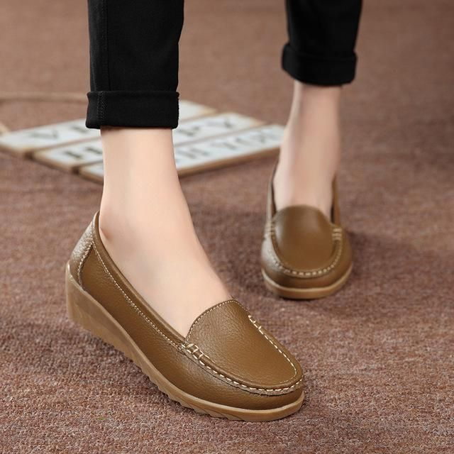 Tendance Chaussures 2017/ 2018 : HOTAHOY Women Genuine Leather Shoes Female  Shoes Girl Casual Comfort Low Heels L... - Vogue Tunisie   Maroc   Algérie  ...