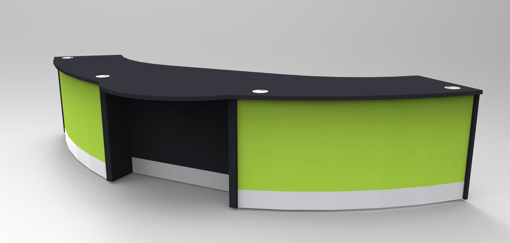 Aero Dda Reception Desk Finished In Black With Lime Green Modesty Panels