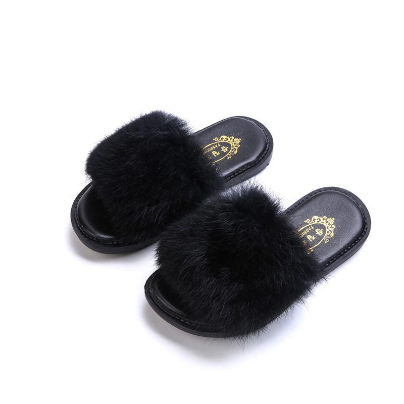 60a0bcdc65 Fashion Girls Sandal Faux Fur Slipper Winter Warm Princess Flat ...
