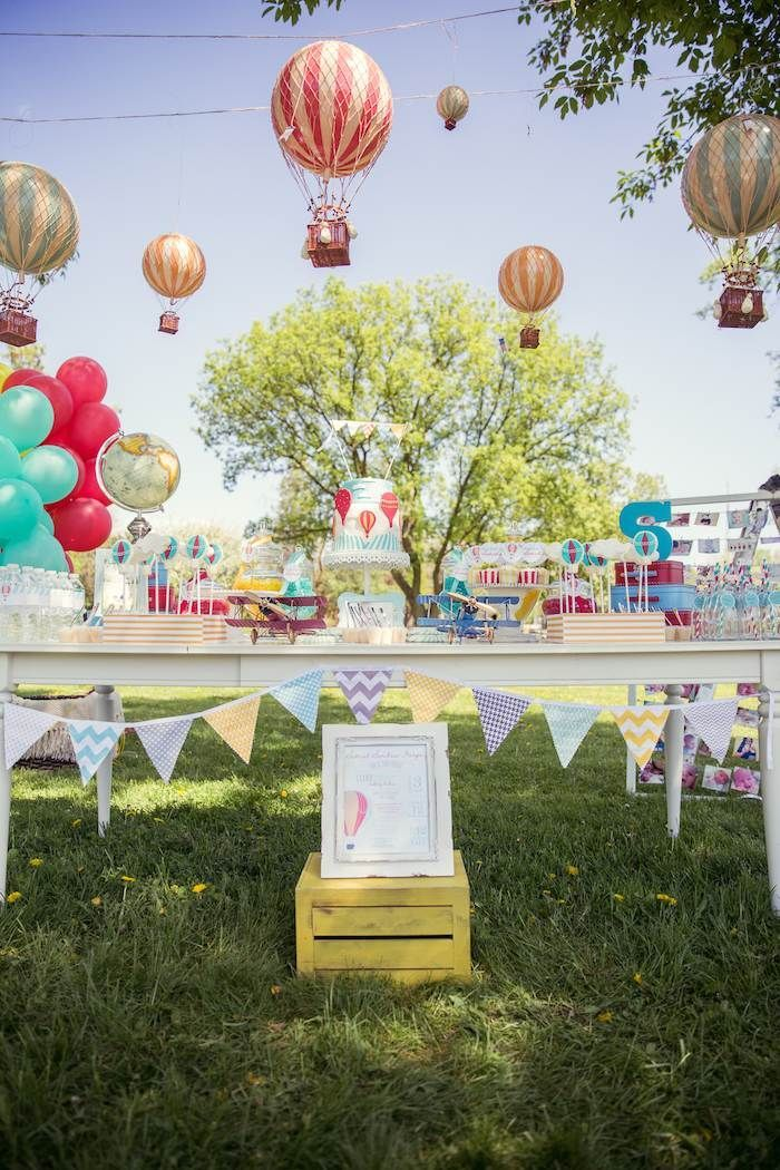 Hot Air Balloon Up Up & Away First Birthday Party