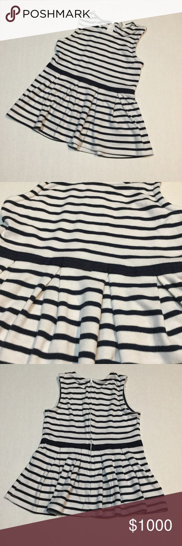 Stripe dress navy blue and white dress A-line dress in navy blue and white.  Pictures look black, but its navy blue.  Excellent condition for your little toddler. Perfect for pictures.  By crazy8. crazy 8 Dresses Casual