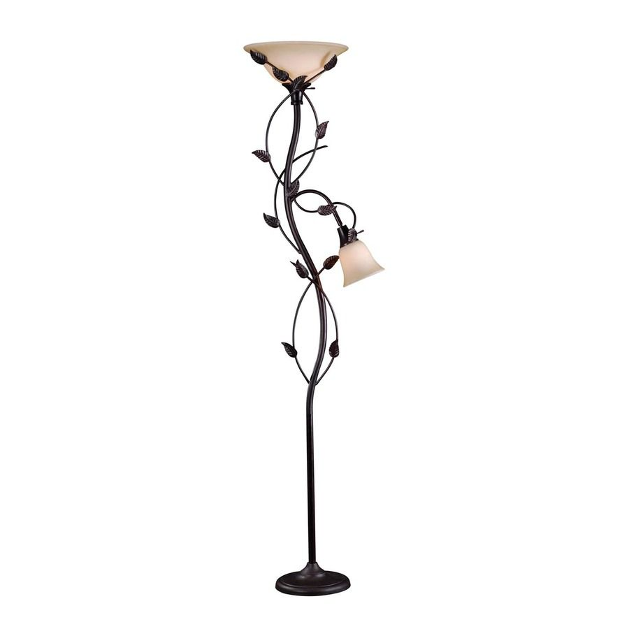Kenroy Home Ashlen 72 In Oil Rubbed Bronze Torchiere With Side Light Floor Lamp With Glass Shade Glass Shades Floor Lamp Indoor Floor Lamps