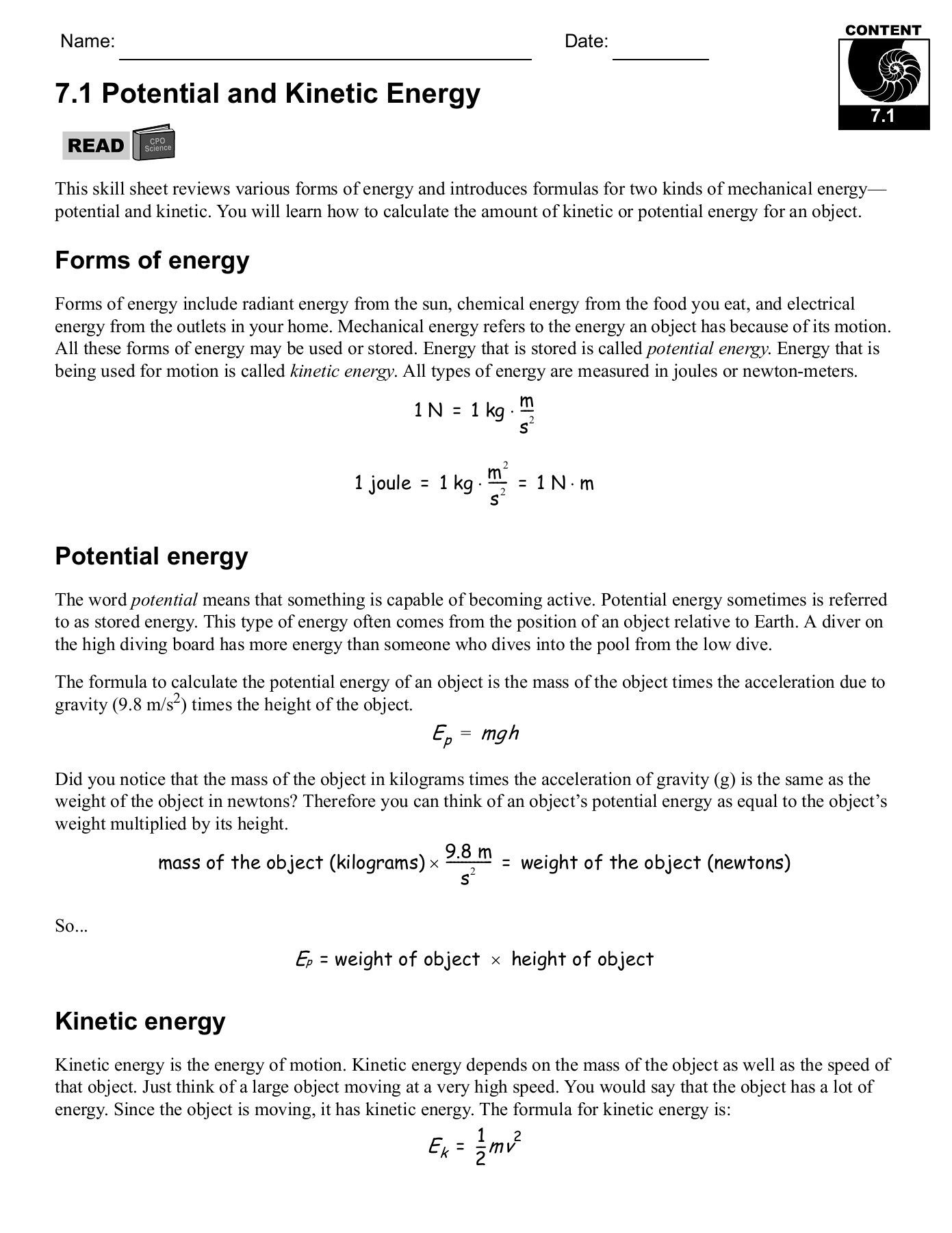 Best Of Potential And Kinetic Energy Worksheet Answers