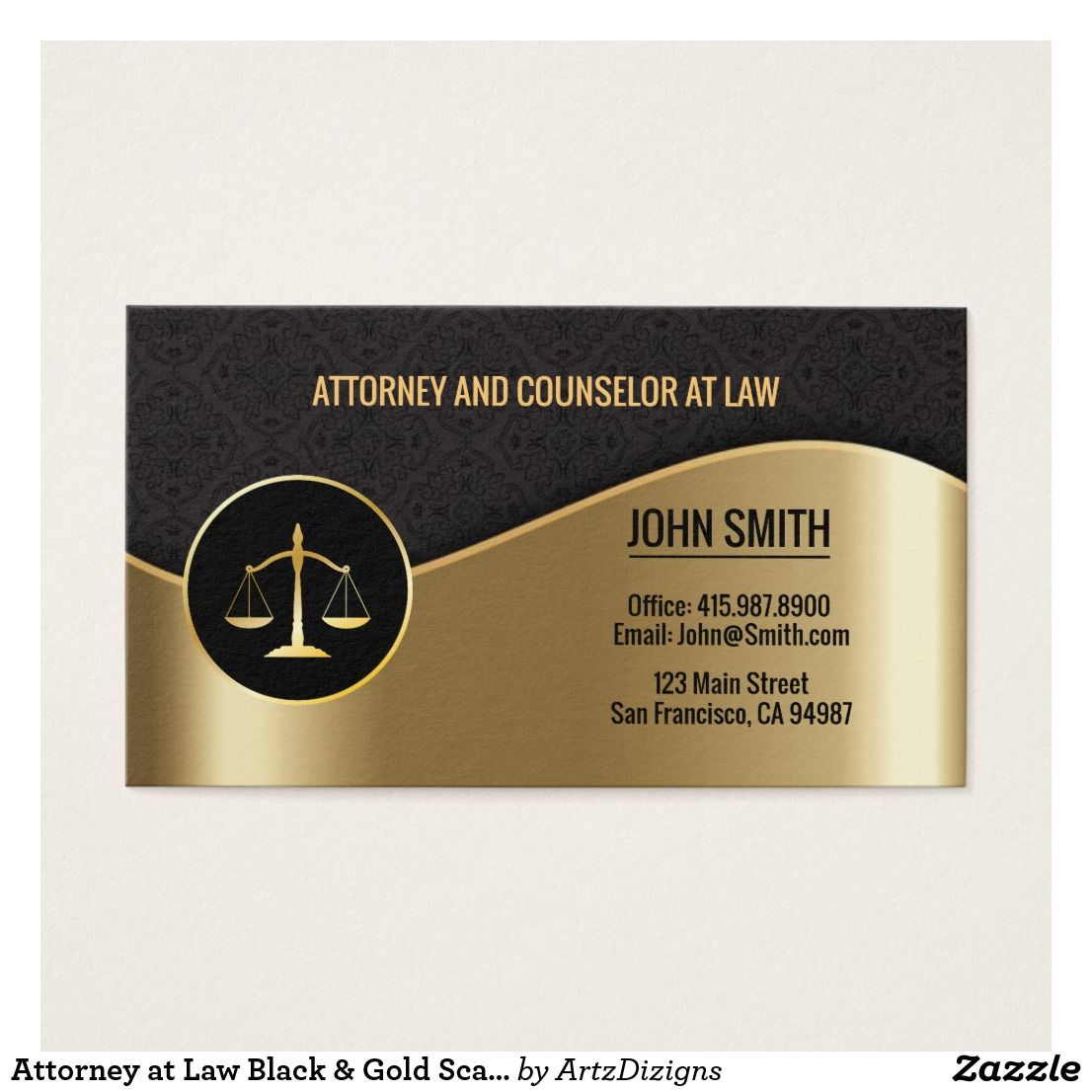 Attorney at Law Black & Gold Scales Business Cards | Business pens ...