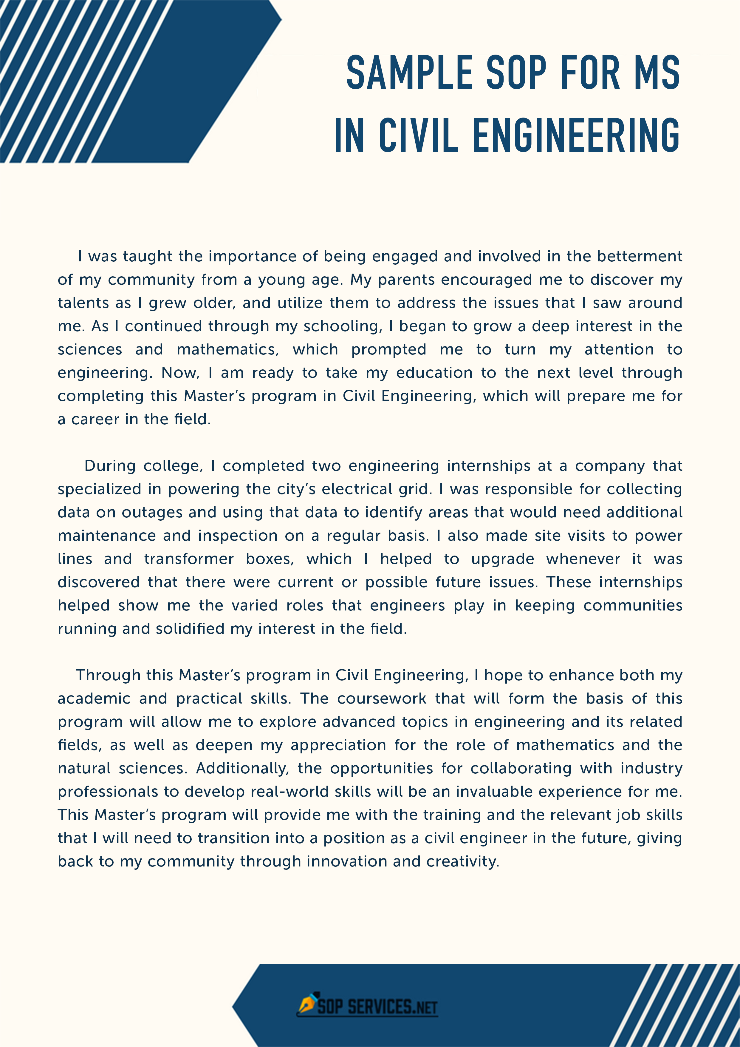 Get sample SOP for M's in civil engineering via this link