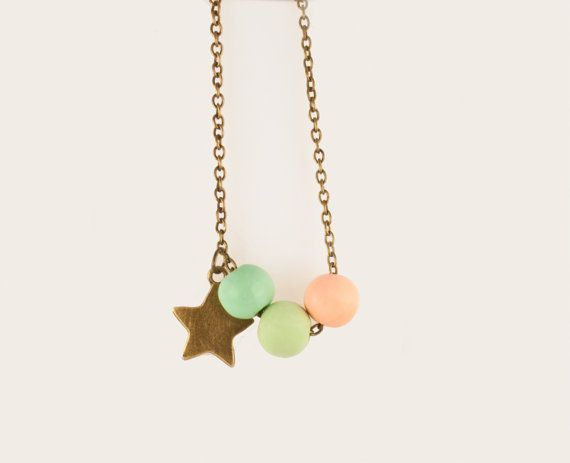 Mint green and peach necklace star and bronze chain  by MiLaDo, €15.00