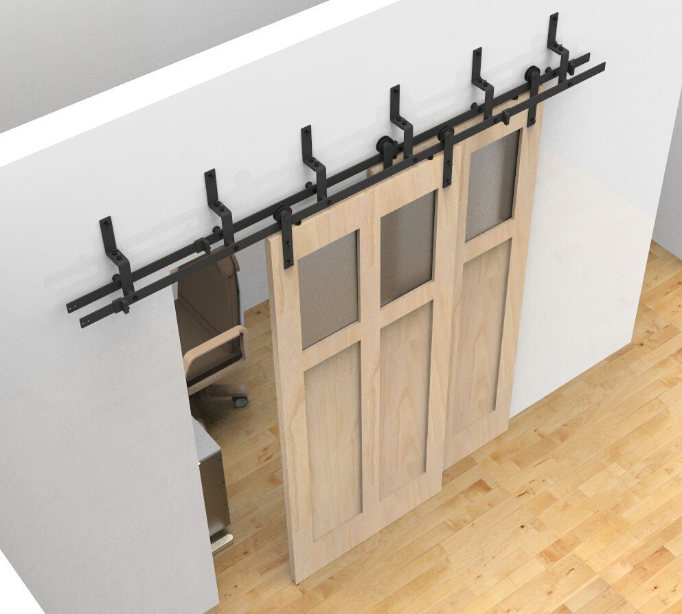 Bypass Sliding Barn Wood Door Hardware Black Rustick Barn Sliding Track Kit  In Home U0026 Garden, Home Improvement, Building U0026 Hardware | EBay