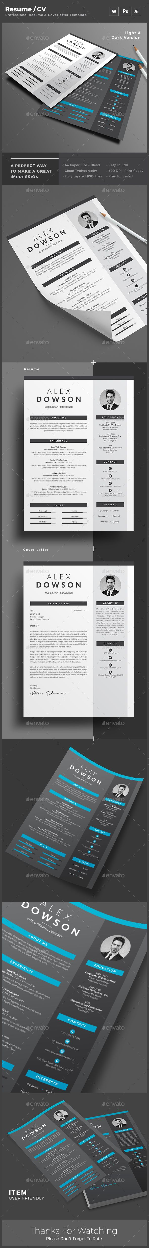 Resume  Ai Illustrator Template And Cv Design Template