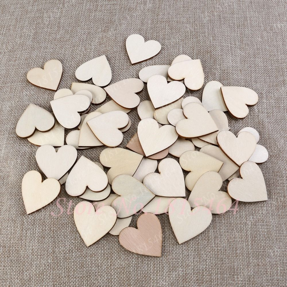 Wooden Love Hearts Shape Embellishments Craft Blank Wedding Decor Christmas