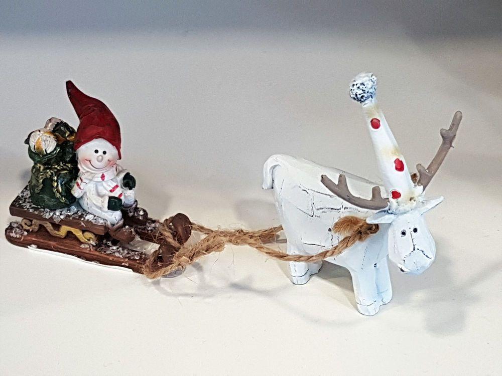 schneemann mit rentier schlitten deko weihnachten xmas