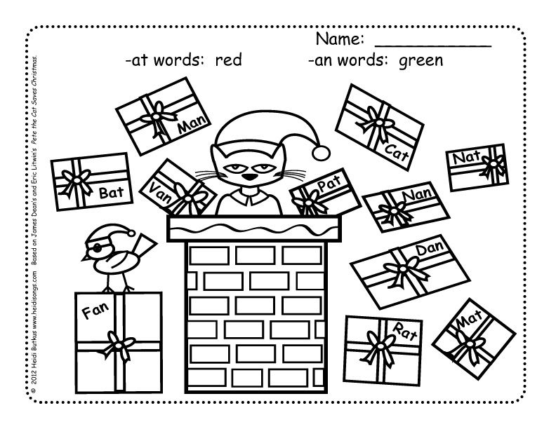 Heidisongs Resource Pete the Cat Saves Christmas Word Families