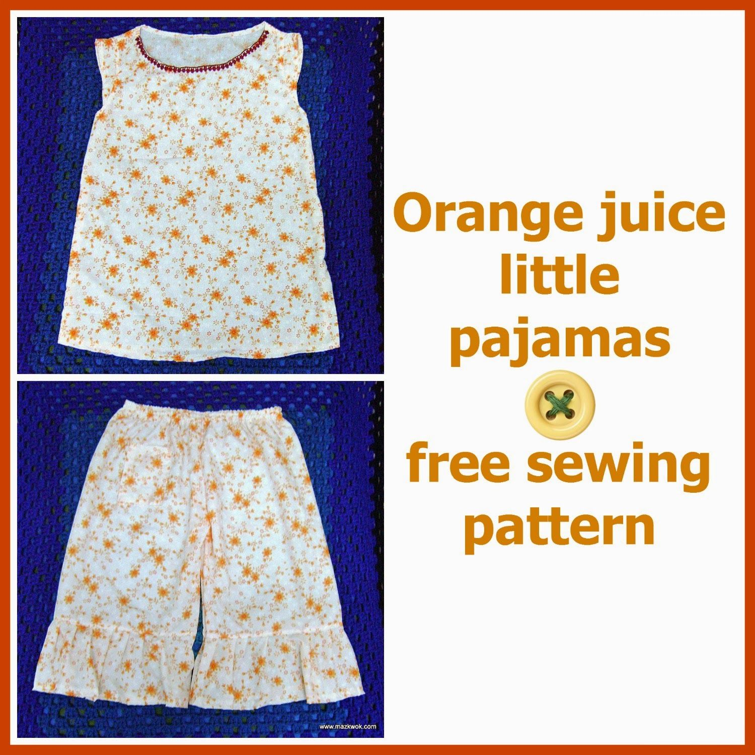 Cute cute cute little girls pjs childrens clothes orange juice little pajamas free sewing pattern jeuxipadfo Images