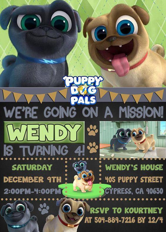 Item Description Puppy Dog Pals Birthday Invitation By Dakota Design Art Please Read B Puppy Birthday Parties Dog Birthday Party 2nd Birthday Party For Boys