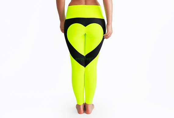 Neon Heart Pants Glow In The Dark Neon Yoga Pants Heart