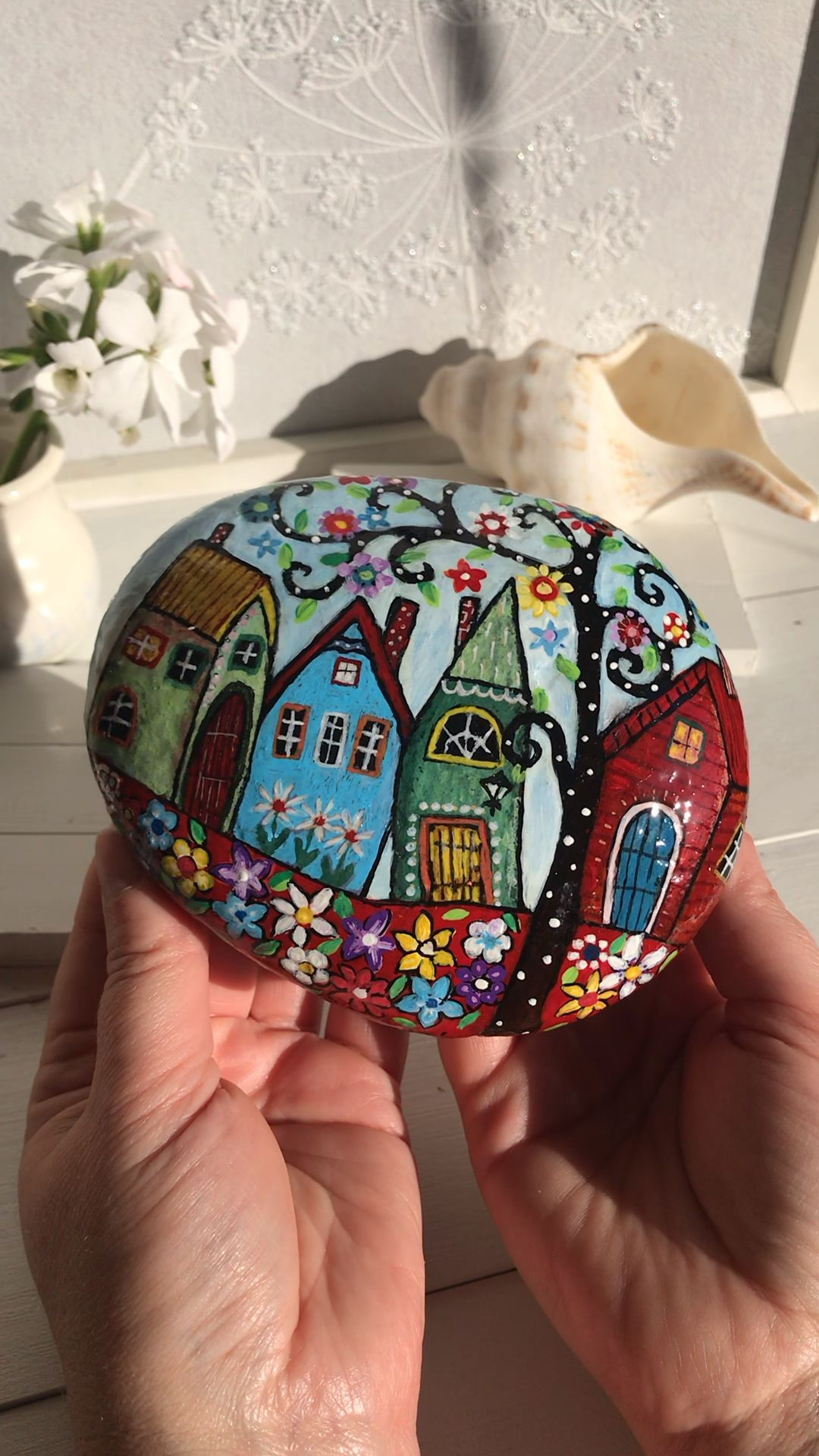 Photo of My Street with Flowers painted rock by Christine Onward