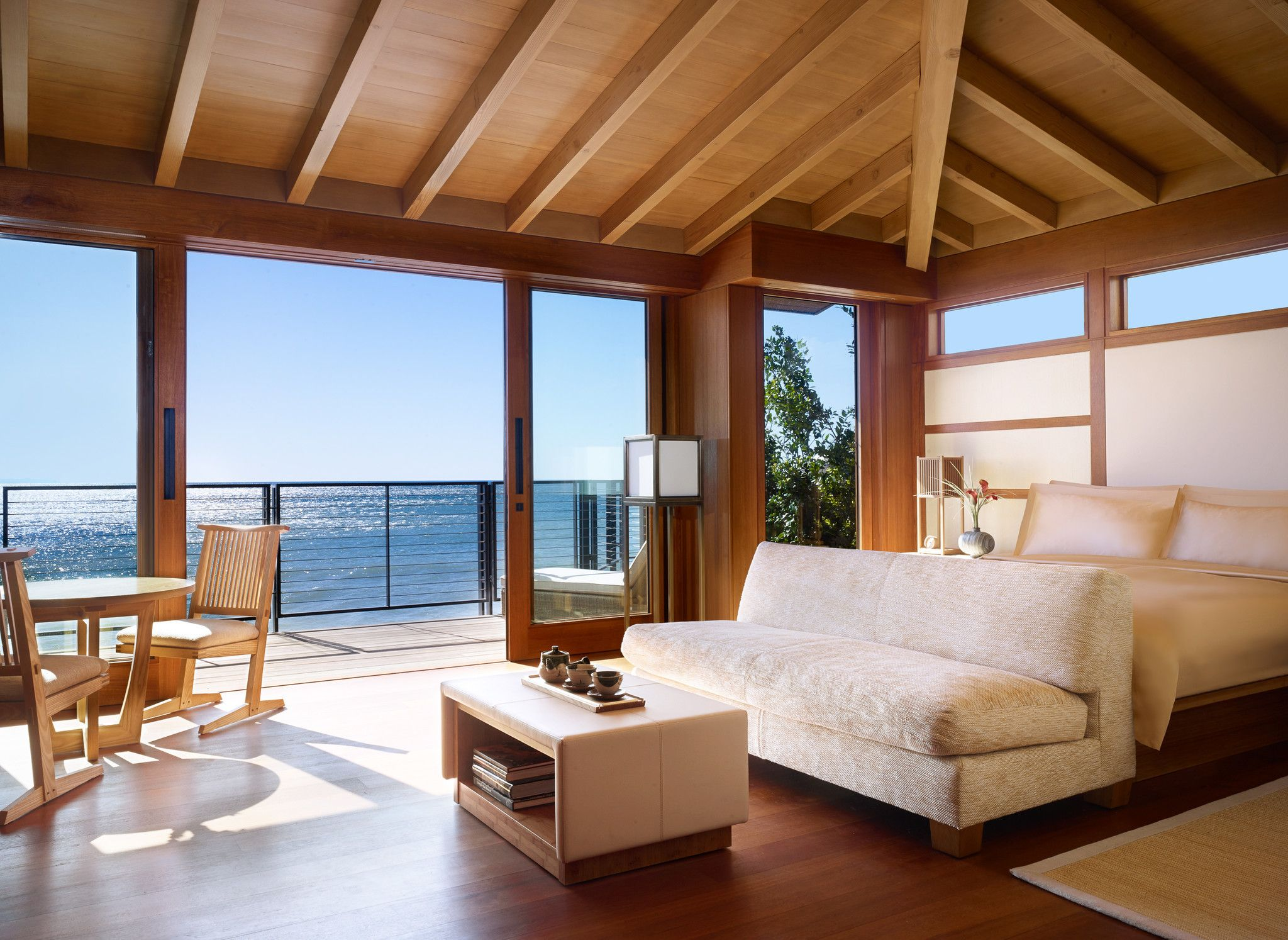 Rooms at Nobu\'s Japanese-style Malibu inn are minimalist in style ...