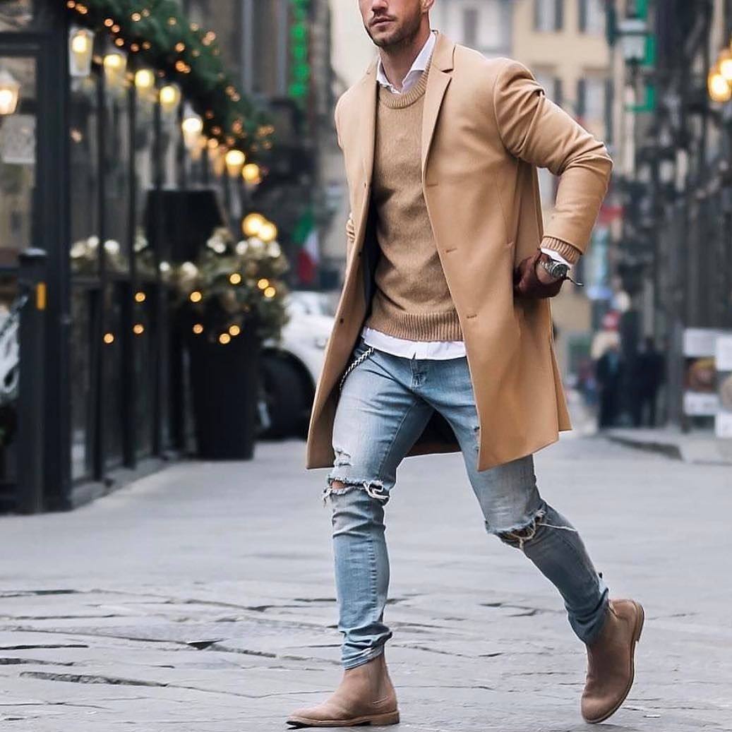 Outfit by @magic_fox - camel coat distressed jeans and chelsea boots [  http:/