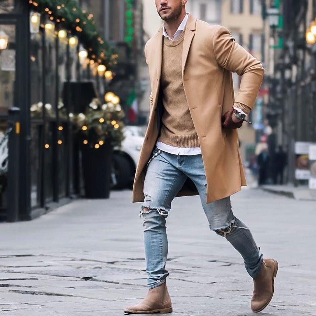 Men S Fashion Instagram Page Camel Coat Distressed