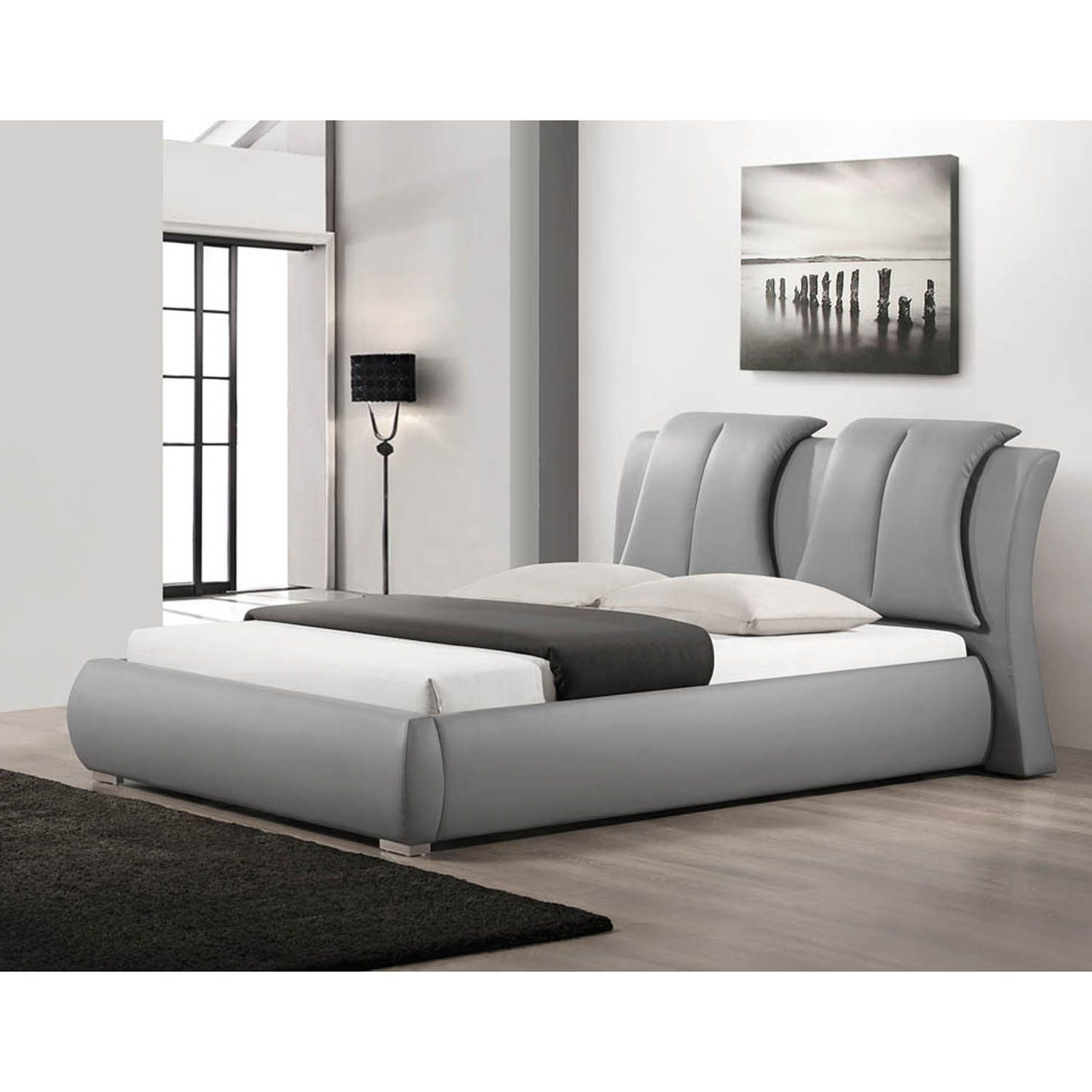 Fenton modern dark brown queen platform bed free shipping today - Malloy Grey Queen Size Modern Bed With Upholstered Headboard By Baxton Studio