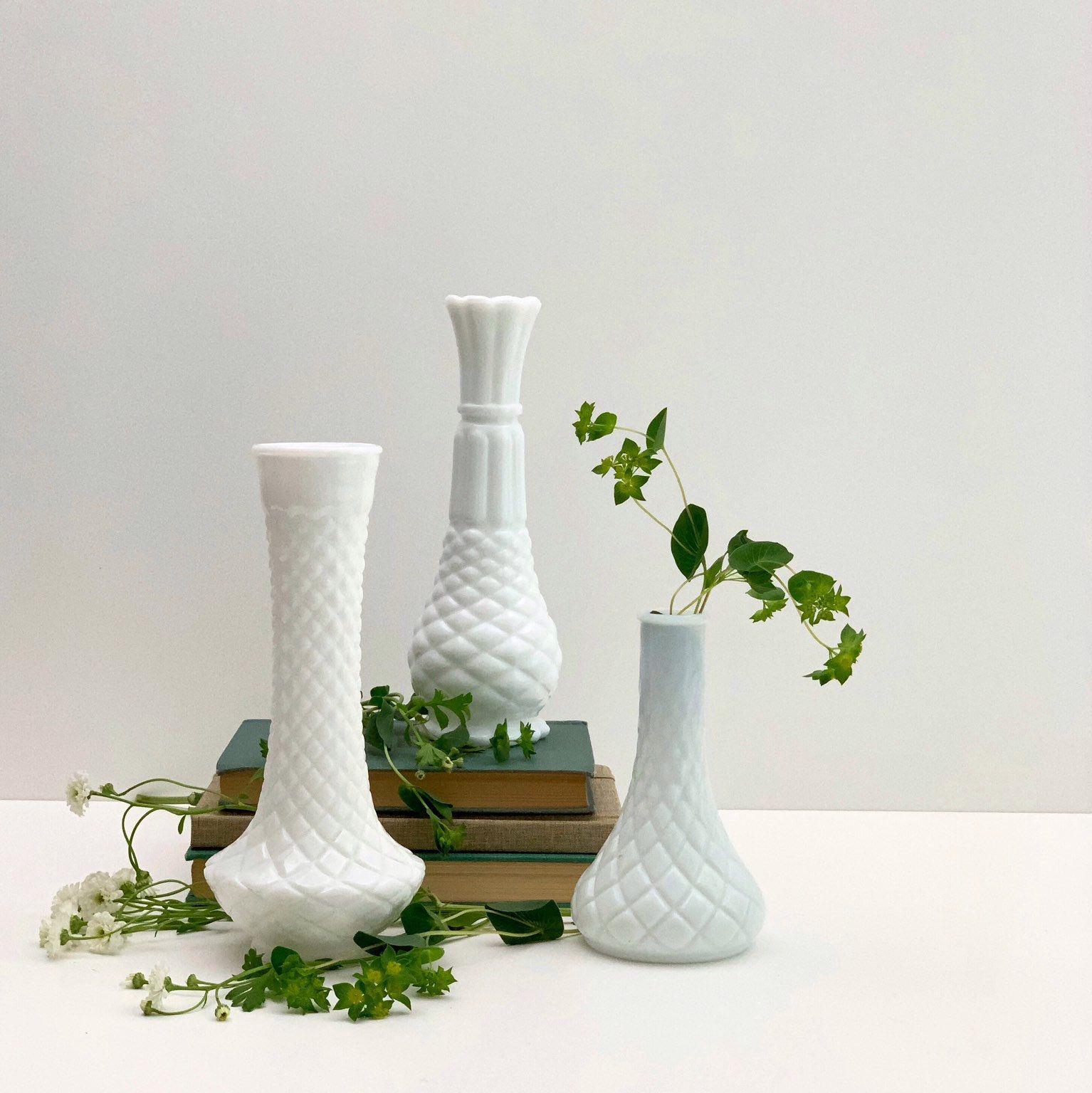 Tall Flower Ceramic Bud Vases Set of 3