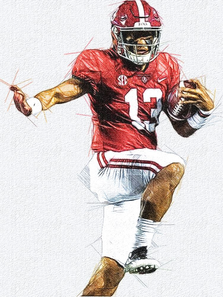 Tua Tagovailoa Alabama Qb Alabama Crimson Tide Alabama Football Football Illustration