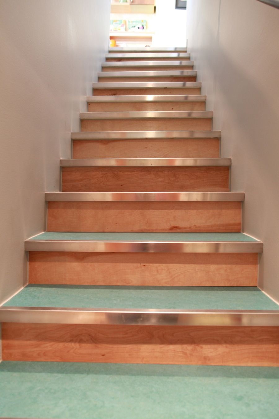 steps up from the basement marmoleum plywood and metal nosings rh pinterest com