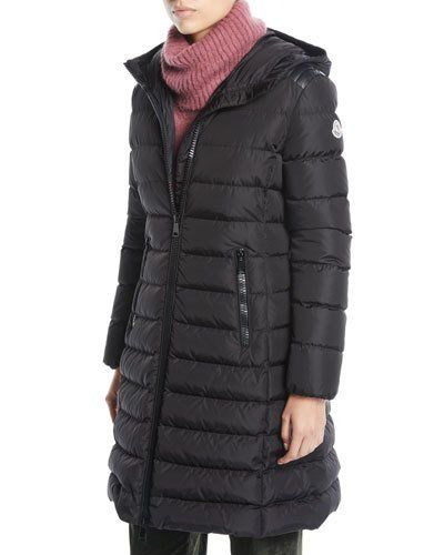 6023e452ef Moncler Taleve Zip-Front Hooded Mid-Length Quilted Puffer Jacket in ...