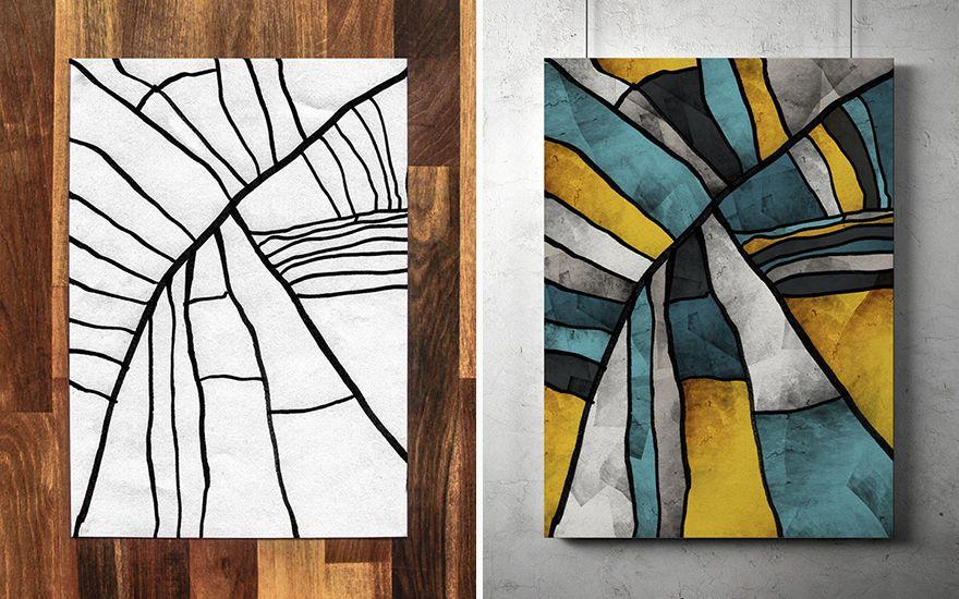 أب يحول رسومات ابنه ذي الثلاث سنوات إلى لوحات جميلة يلونها النتائج مذهلة وقرر الأب أن يعمل سلسلة كاملة منها African Art Paintings Geometric Design Art Art