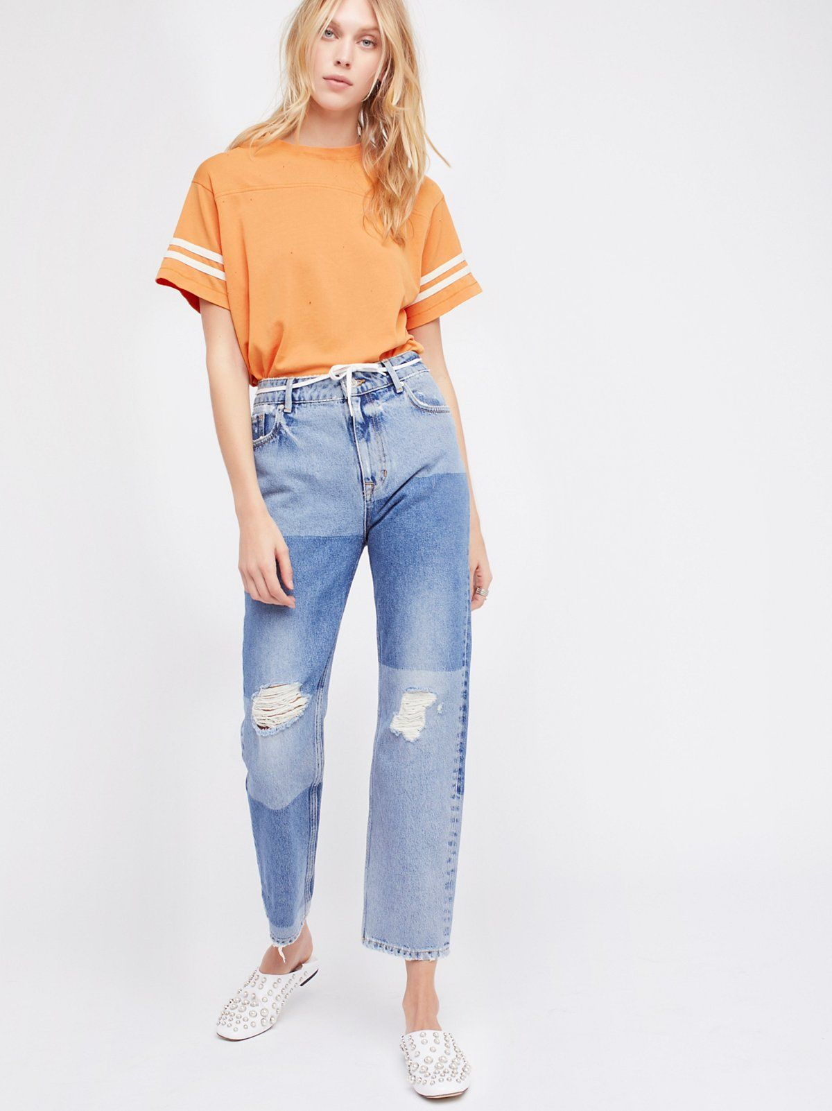 Ripped Patchwork Girlfriend Jeans (With images