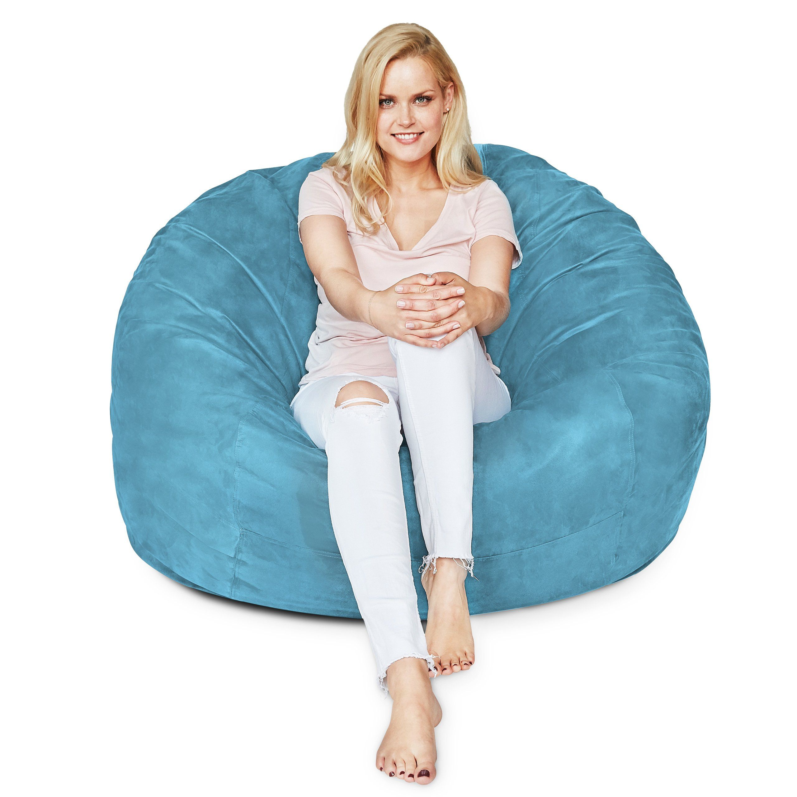 Lumaland Luxury 4foot Bean Bag Chair With Microsuede Cover Light