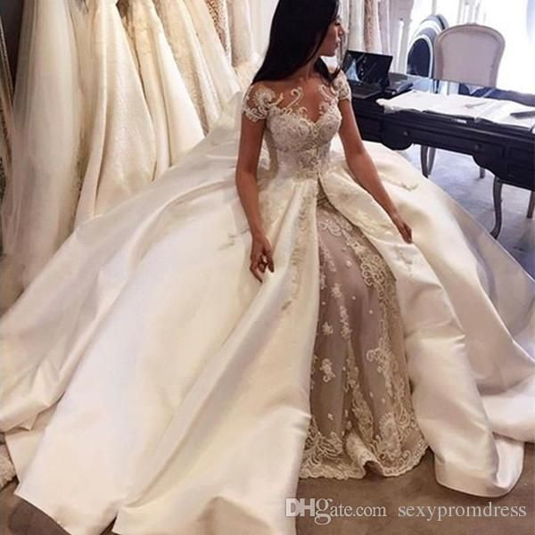 Cheap Luxury Ball Gown Wedding Dresses 2017 Saudi Arabia Cap Sleeve Lace Applique Satin Overskirt Bridal Gowns Custom Made Dubai As Low