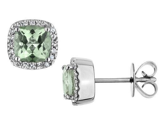 Green Amethyst Earrings with Diamonds 2.50 Carat (ctw) in 14K White Gold to match my ring!