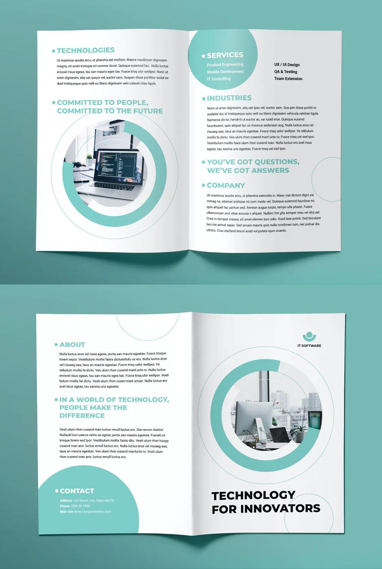 It Software Bifold Brochure Template Graphic Design Brochure Brochure Design Layout Brochure Design Creative