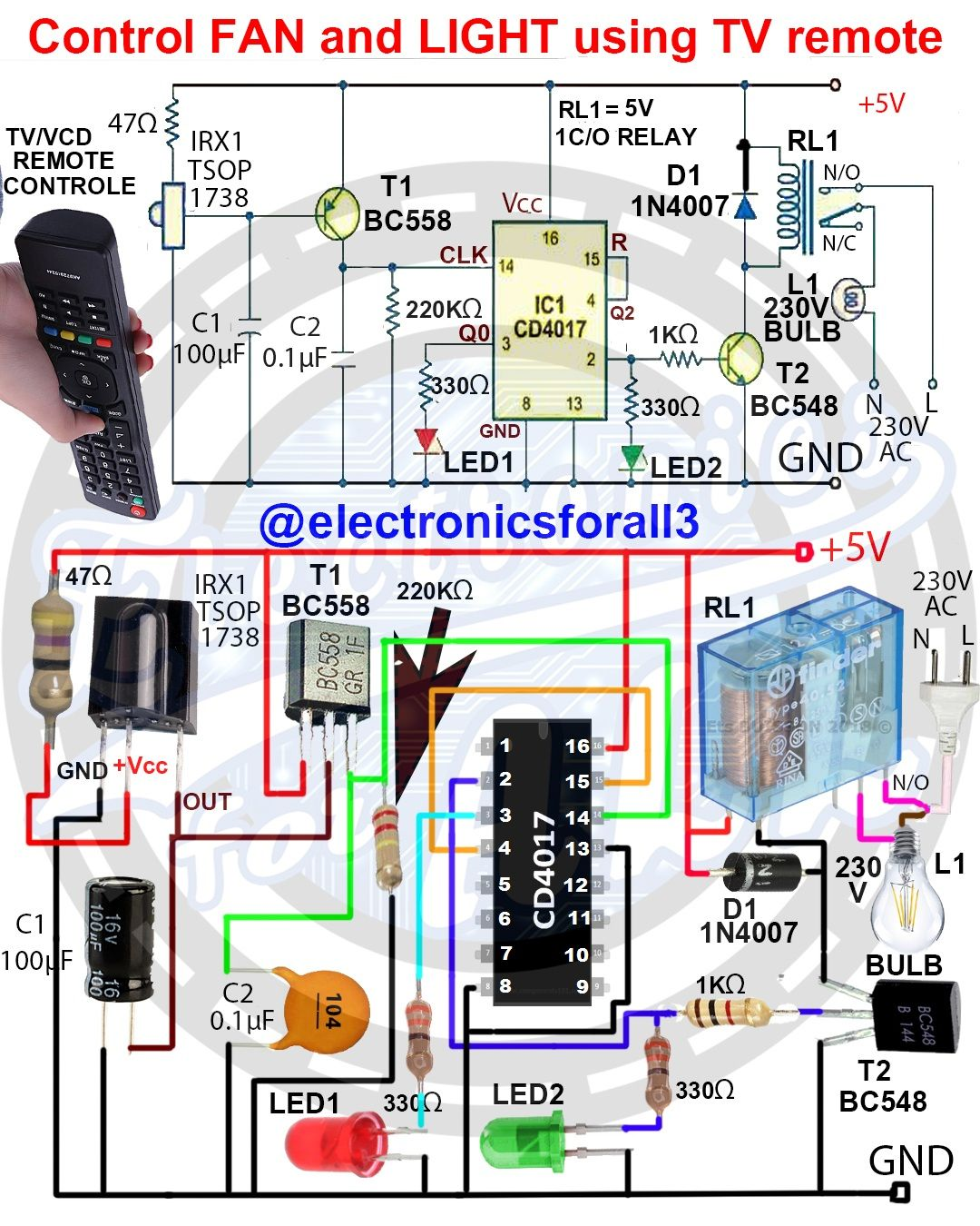 Control Fan And Light Using Tv Remote Electronic Circuit Projects Electronic Schematics Electronics Circuit