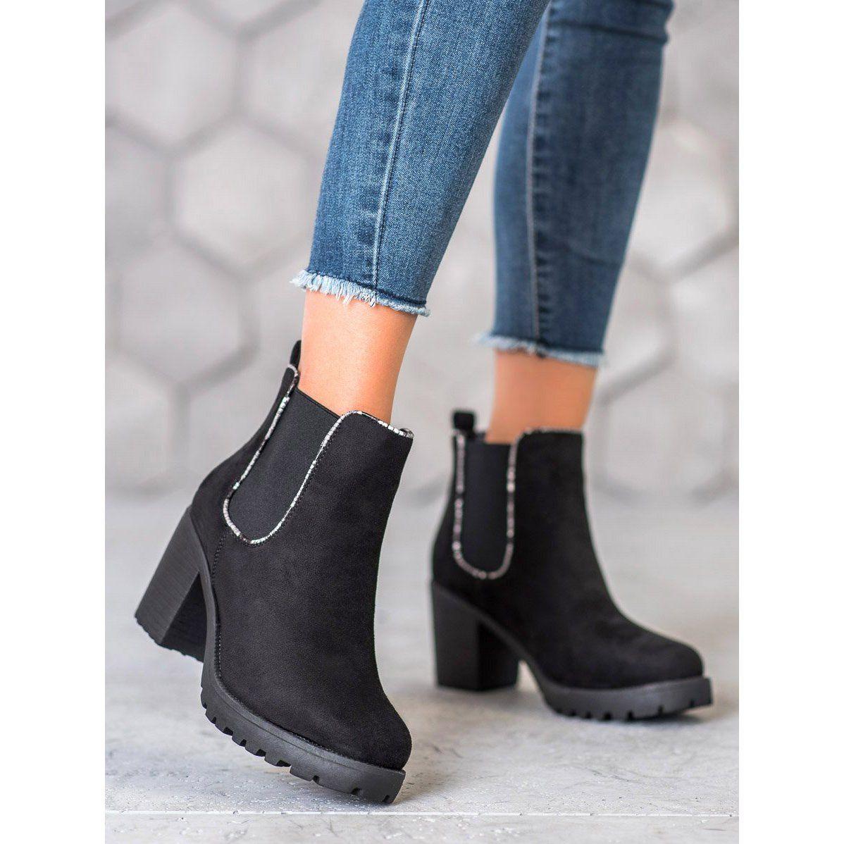 Erynn Zamszowe Sztyblety Na Platformie Czarne Jodhpur Boots Stylish Shoes For Women Boots
