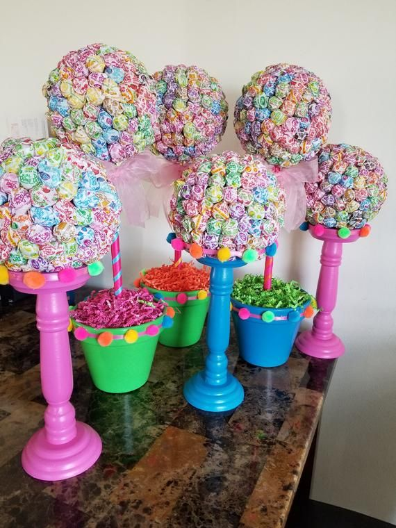 Dum Dums Topiary and Dum Dums Candle Holder, Candy