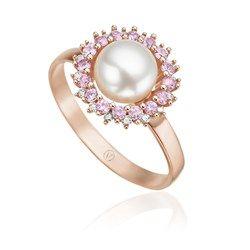 Anel Ouro Rosé Diamante Safira e Pérola Aurora