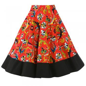 Ohlson Floral Swallow Circle Skirt | Vintage Style Skirts - Lindy Bop