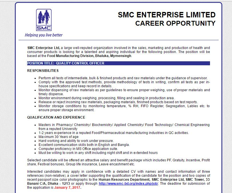 Smc Enterprise Ltd  Position Quality Control Officer  Jobs