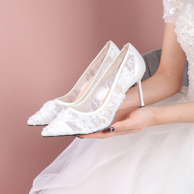 Stylowe Modne Czerwone Slub Na Wesele Czolenka 2020 Z Koronki 7 Cm Szpilki Szpiczaste Buty Slubne Stiletto Heels Bridesmaids Pumps Shoes